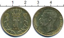 Изображение Дешевые монеты Люксембург 5 франков 1987 Латунь-сталь VF+