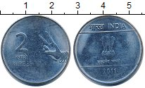 Изображение Барахолка Индия 2 рупии 2011 нержавеющая сталь XF-