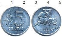 Изображение Дешевые монеты Литва 5 центов 1991 Медно-никель XF+