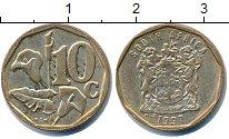 Изображение Дешевые монеты ЮАР 10 центов 1997 Латунь XF