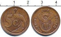 Изображение Дешевые монеты ЮАР 5 центов 2003 сталь с медным покрытием VF+