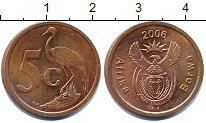 Изображение Дешевые монеты ЮАР 5 центов 2006 сталь с медным покрытием XF