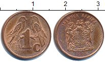 Изображение Дешевые монеты ЮАР 1 цент 1999 Медь