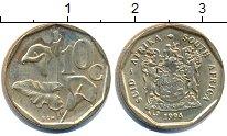 Изображение Дешевые монеты ЮАР 10 центов 1994 Латунь XF+
