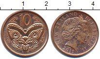 Изображение Дешевые монеты Новая Зеландия 10 центов 2011 Медь XF-