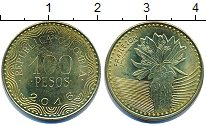 Изображение Дешевые монеты Колумбия 100 песо 2016 Латунь-сталь UNC-