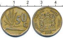 Изображение Дешевые монеты ЮАР 50 центов 1991 Латунь XF