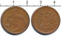 Изображение Дешевые монеты ЮАР 5 центов 1992 Медь XF