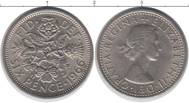 Картинка Дешевые монеты Великобритания 6 пенсов Медно-никель 1966
