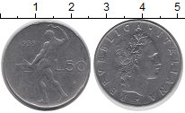 Изображение Дешевые монеты Италия 50 лир 1955 Сталь XF-