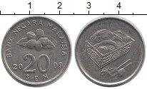 Изображение Дешевые монеты Малайзия 20 центов 2009 Медно-никель XF