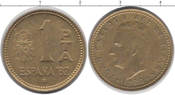 Картинка Дешевые монеты Испания 1 песета Латунь 1980