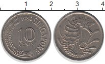 Изображение Дешевые монеты Сингапур 10 центов 1980 Медно-никель XF