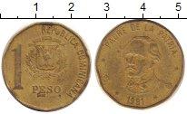 Изображение Дешевые монеты Доминиканская республика 1 песо 1991 Латунь VF