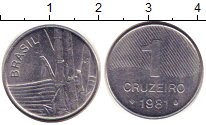 Изображение Дешевые монеты Бразилия 1 крузейро 1981 Медно-никель VF