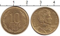 Изображение Дешевые монеты Чили 10 песо 2013 Латунь XF