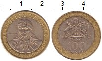 Изображение Дешевые монеты Чили 100 песо 2010 Биметалл VF