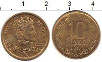 Изображение Дешевые монеты Чили 10 песо 2012 Латунь XF-