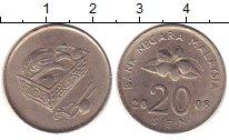 Изображение Дешевые монеты Малайзия 20 сен 2008 Медно-никель VF+