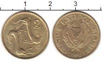Изображение Дешевые монеты Кипр 2 цента 1990 Латунь-сталь XF-