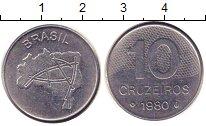 Изображение Дешевые монеты Бразилия 10 крузейро 1980 Медно-никель VF
