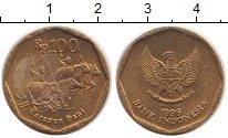 Изображение Дешевые монеты Индонезия 100 рупий 1996 сталь покрытая латунью XF