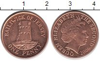Изображение Барахолка Остров Джерси 1 пенни 2006 Медь XF+
