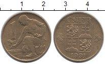 Изображение Барахолка Чехословакия 1 крона 1991 Латунь-сталь XF+