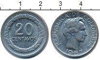Изображение Барахолка Колумбия 20 сентаво 1967 Медно-никель XF