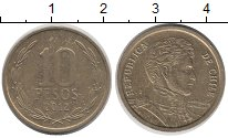 Изображение Дешевые монеты Чили 10 песо 2012 Бронза VF