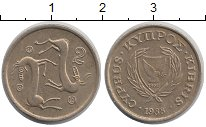 Изображение Дешевые монеты Кипр 2 цента 1988 Латунь-сталь XF-