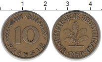 Изображение Дешевые монеты ФРГ 10 пфеннигов 1950 Латунь-сталь VF