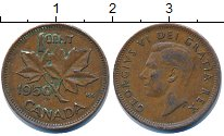 Изображение Дешевые монеты Канада 1 цент 1950 Медь VF+