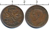 Изображение Дешевые монеты Канада 1 цент 1947 Медь VF+