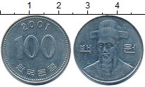 Изображение Дешевые монеты Южная Корея 100 вон 2001 Медно-никель XF-