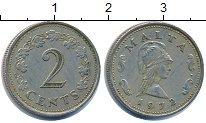Изображение Барахолка Мальта 2 цента 1972 Медно-никель XF-