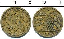 Изображение Барахолка Германия 10 пфеннигов 1925 Латунь XF-