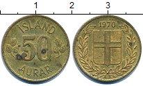 Изображение Дешевые монеты Исландия 50 аурар 1970 Латунь VF