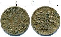 Изображение Дешевые монеты Германия 5 пфеннигов 1924 Латунь VF+