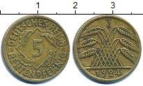Изображение Дешевые монеты Германия 5 пфеннигов 1924 Латунь XF