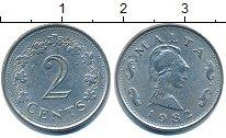 Изображение Барахолка Мальта 2 цента 1982 Медно-никель XF-