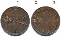 Изображение Дешевые монеты Швейцария 1 рапп 1958 Медь XF-