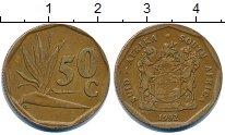 Изображение Дешевые монеты ЮАР 50 центов 1992 Бронза VF