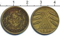 Изображение Дешевые монеты Германия 10 пфеннигов 1936 Латунь VF-