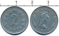 Изображение Барахолка Мальта 2 цента 1977 Медно-никель XF-