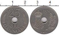 Изображение Барахолка Дания 25 эре 1974 Медно-никель XF-
