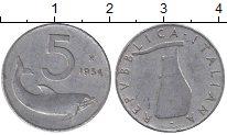 Изображение Дешевые монеты Италия 5 лир 1954 Алюминий XF-