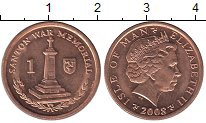Изображение Барахолка Остров Мэн 1 пенни 2008 Медь UNC-