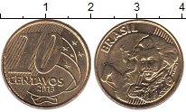 Изображение Дешевые монеты Бразилия 10 сентаво 2013 Латунь-сталь XF
