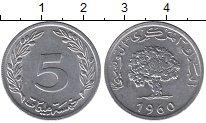 Изображение Дешевые монеты Тунис 5 миллим 1960 Алюминий XF